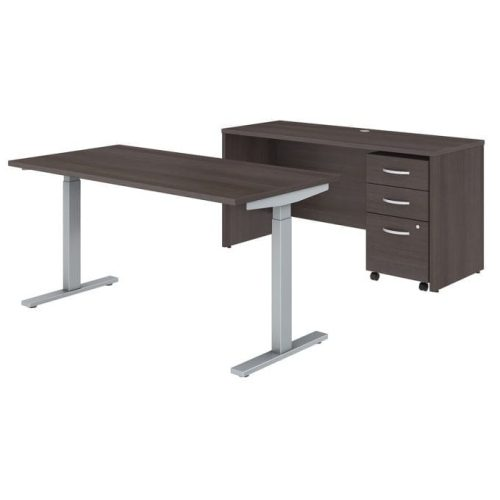 business furniture studio c 60w x 30d height adjustable standing desk credenza and mobile file cabinet in storm gray