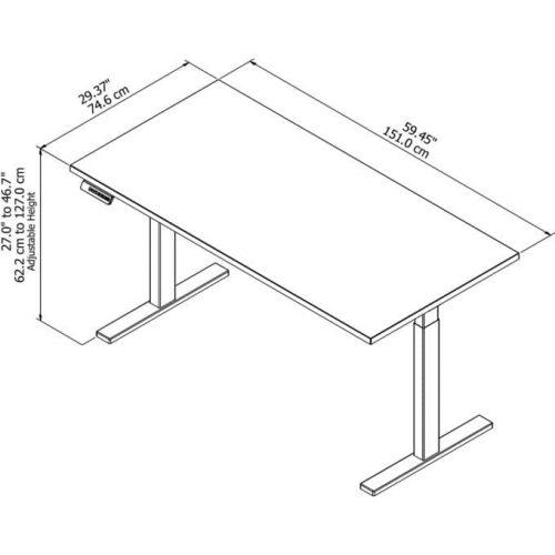 height adjustable standing desk diagram