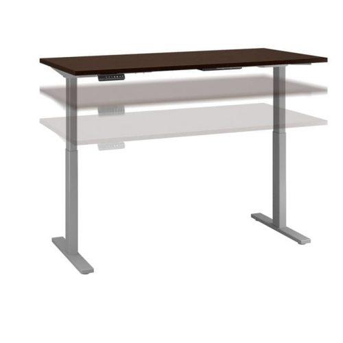 height adjustable standing desk in mocha cherry