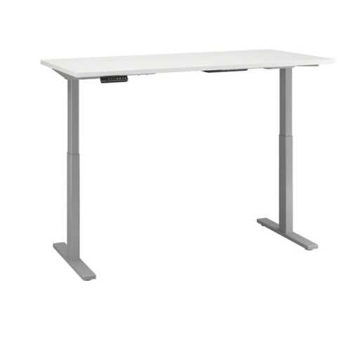 height adjustable standing desk in white with cool gray metallic base