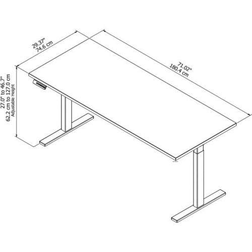 height adjustable standing desk in white with cool gray metallic base diagram
