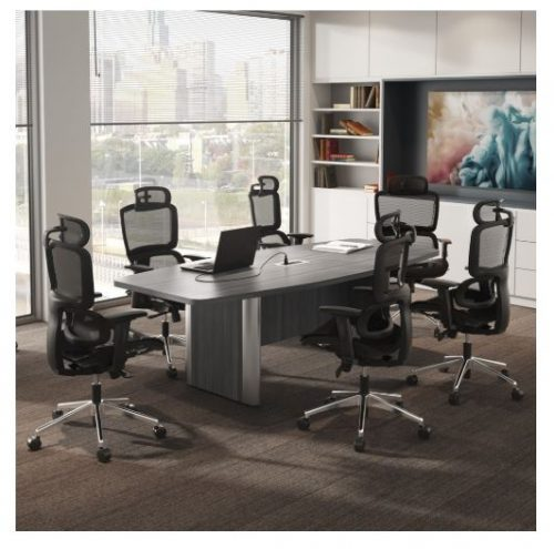 boat shaped conference table with elliptical base 2