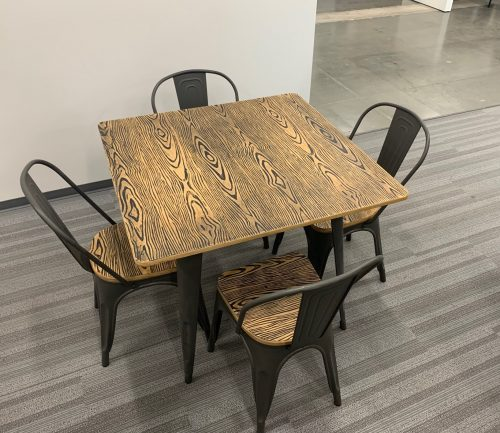 burnt wood and metal table 1