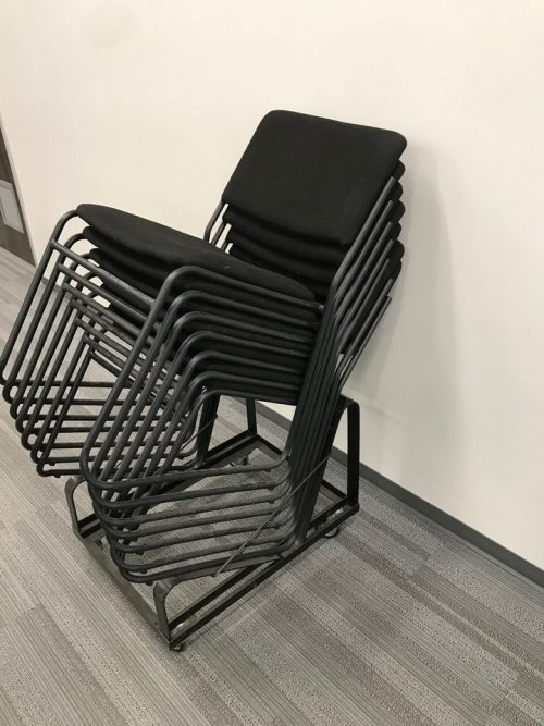 fabric sled style stack chair (7) a