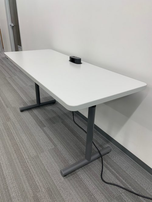grey and black desk with power mount 2