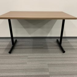 light brown table with t legs 1