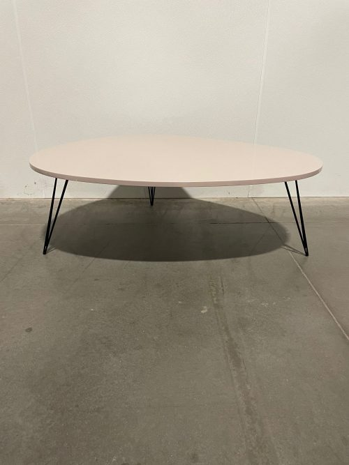 beige table with black hairpin legs 1
