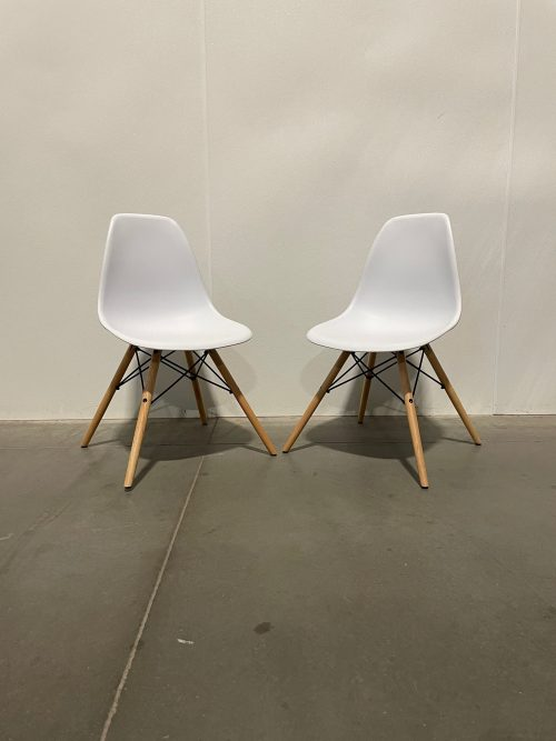 white chairs with black and wood frame 1