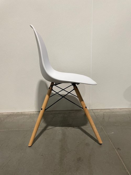 white chairs with black and wood frame 3